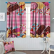 "Angoueleven Ice Cream Thermal/Room Darkening Window Curtains Candy Cookie Sugar Lollipop Cake Ice Cream Girls Design Customized Curtains Baby Pink Chestnut Brown Caramel size:72""x63"""