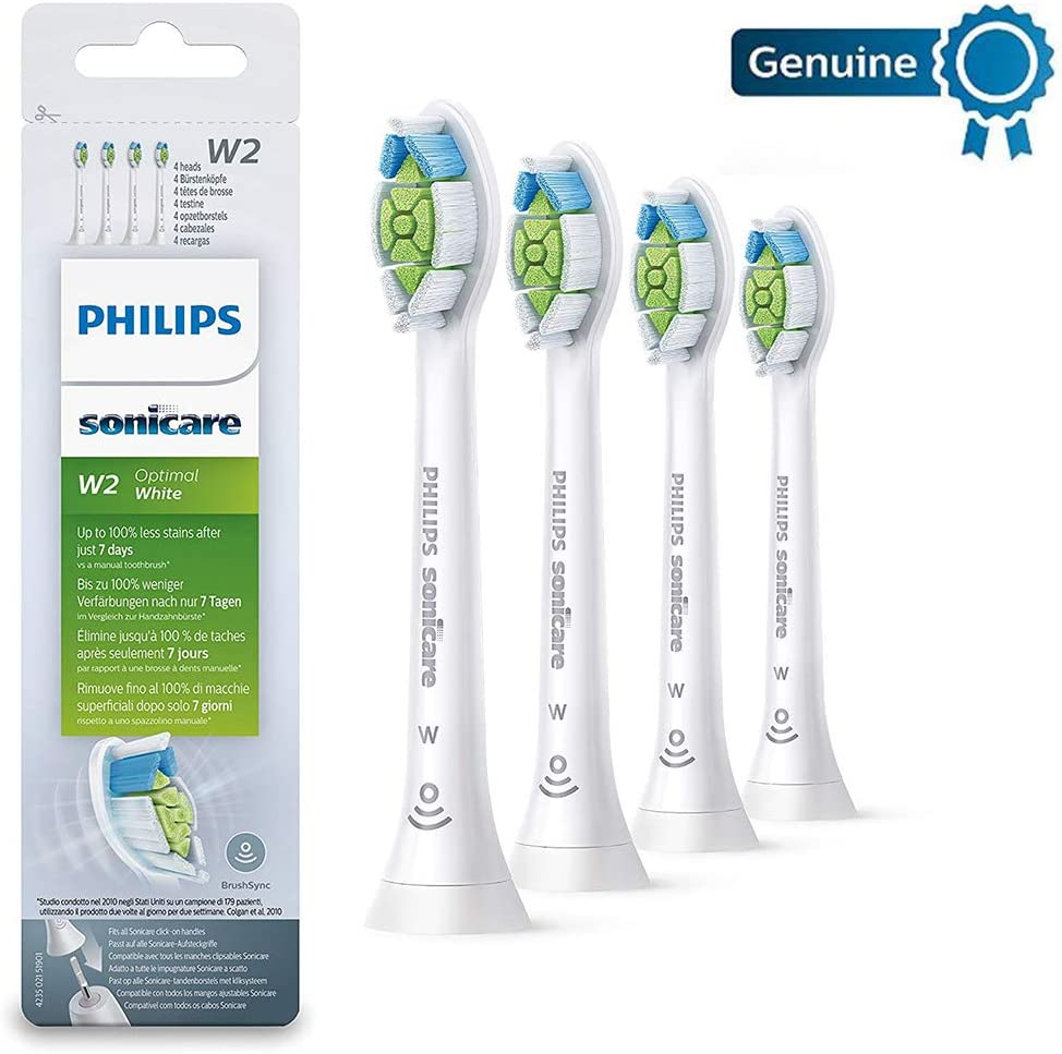 Philips Genuine Sonicare White Replacement Brush Heads, Pack of 4