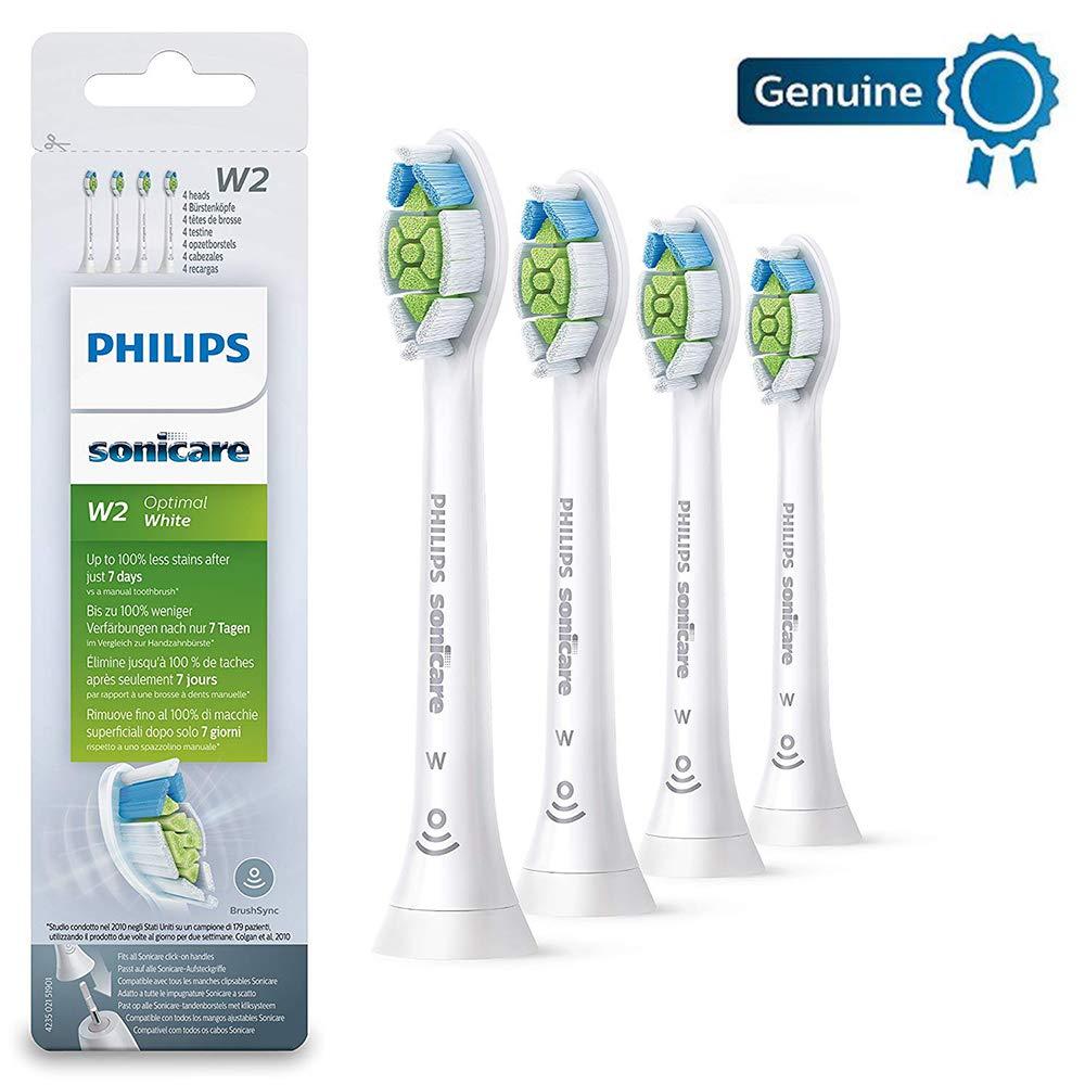 Philips Sonicare HX6064/10Set of 4Brush Heads Best White White W2with brushsync White