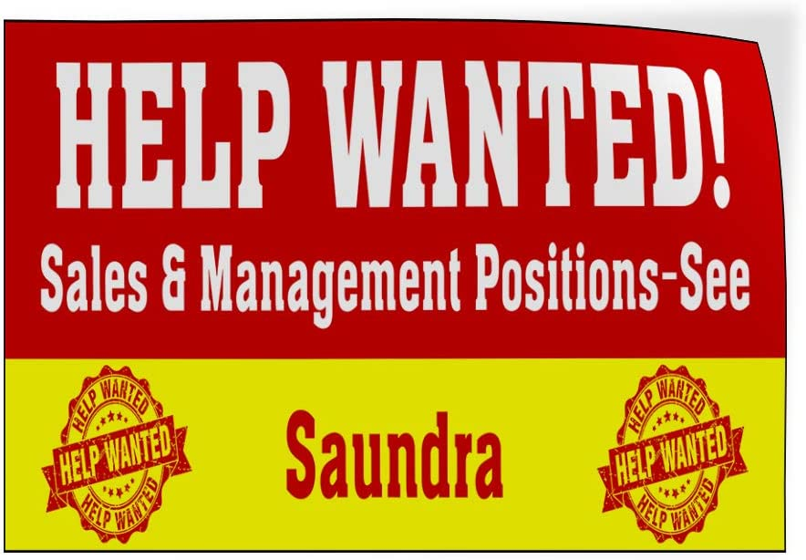 Custom Door Decals Vinyl Stickers Multiple Sizes Help Wanted Work Positions See Name Business Help Wanted Outdoor Luggage /& Bumper Stickers for Cars Red 34X22Inches Set of 10