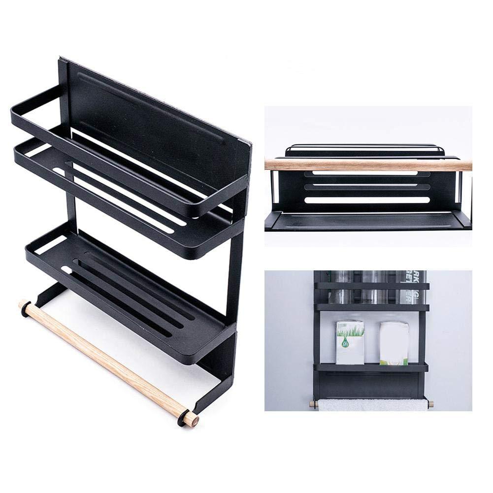 Wetour Tablette pour l'étagère du réfrigérateur Support de réfrigérateur magnétique Porte-réfrigérateur Support à épices Blanc, Noir 26 8 31.5cm