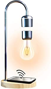 Levitating Floating Light Bulb with Wireless Charger, Magnetic Wireless Light Bulb, Cool Desk Lamp, Unique Gifts, Home Office Decor (Brown)