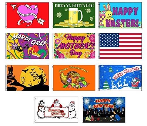 Seasonal Holiday House and Garden Decorative Flag Bundle - Size 3x5 (Set of 11)