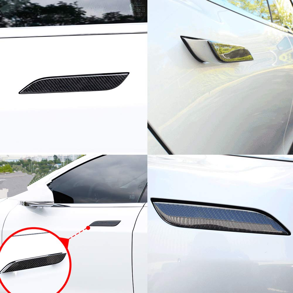 CoolKo Newest Real Carbon Fiber Car Side Door Edge Scratch Protector Guard Stickers Protective Trims for Tesla Model S and X Black