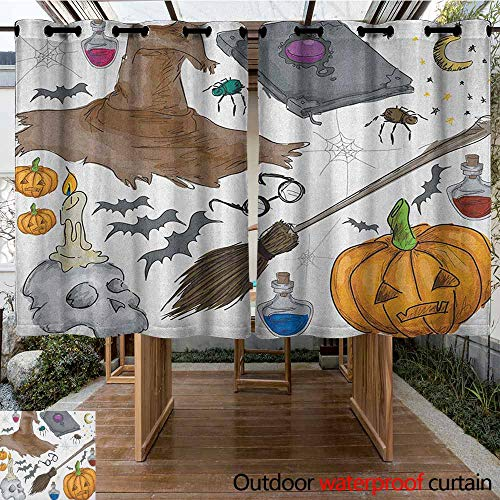 AndyTours Custom Outdoor Curtain,Halloween,Magic Spells Witch Craft Objects Doodle Style Illustration Grunge Design Skull,Darkening Thermal Insulated Blackout,K140C115 Multicolor]()