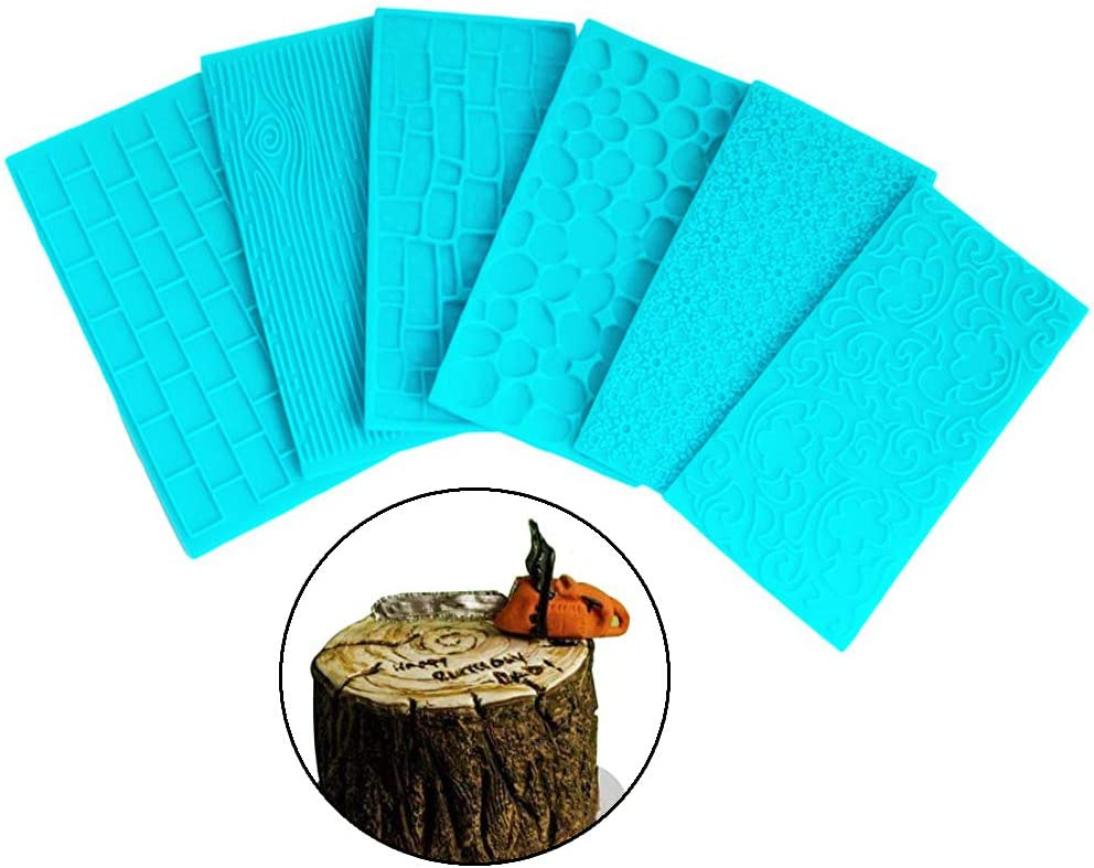 Azul Gurxi Molde de Pastel de Fondant Azul DIY Tapete para Decoraci/ón de Pasteles DIY para el Patr/ón de Borde de Pastel Bricolaje Muro de Piedra Corteza Pared de la Ciudad Flor de Sol 6 Piezas