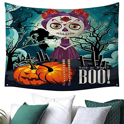 WilliamsDecor Halloween Tapestry for Bedroom Cartoon Girl with Sugar Skull Makeup Retro Seasonal Artwork Swirled Trees Boo Home Decor Bed Cover 60W x 40L Inch Multicolor]()