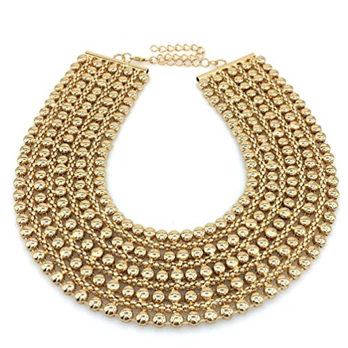 MANILAI Chunky Metal Statement Necklace for Women Neck Bib Collar Choker Necklace Maxi Jewelry (Gold)