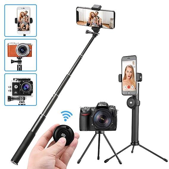 M.Way Selfie Stick Stativ mit Bluetooth Fernbedienung selbstauslöser, verstellbare drehbare Selfie-Stange, Kamera Ständer, Mo