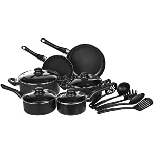 AmazonBasics Non-Stick Kitchen Cookware Set, 15-Piece<br />