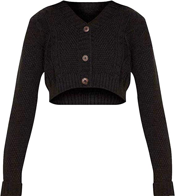 GirlzWalk Womens New Crop Cable Button Open Classic Knit Cropped Cardigan