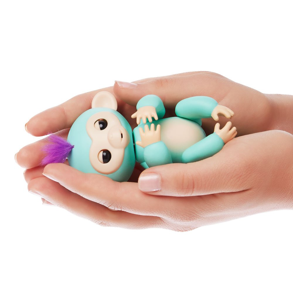 Fingerlings - Interactive Baby Monkey - Zoe (Turquoise with Purple Hair) By WowWee by WowWee (Image #3)