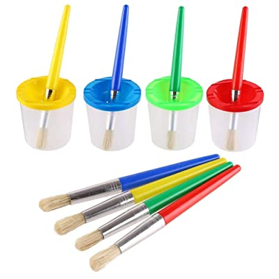 VEYLIN 4 Pcs Spill Proof Paint Cups and 4 Color Hog Bristle Paint Brushes with Handles for Kids: Toys & Games