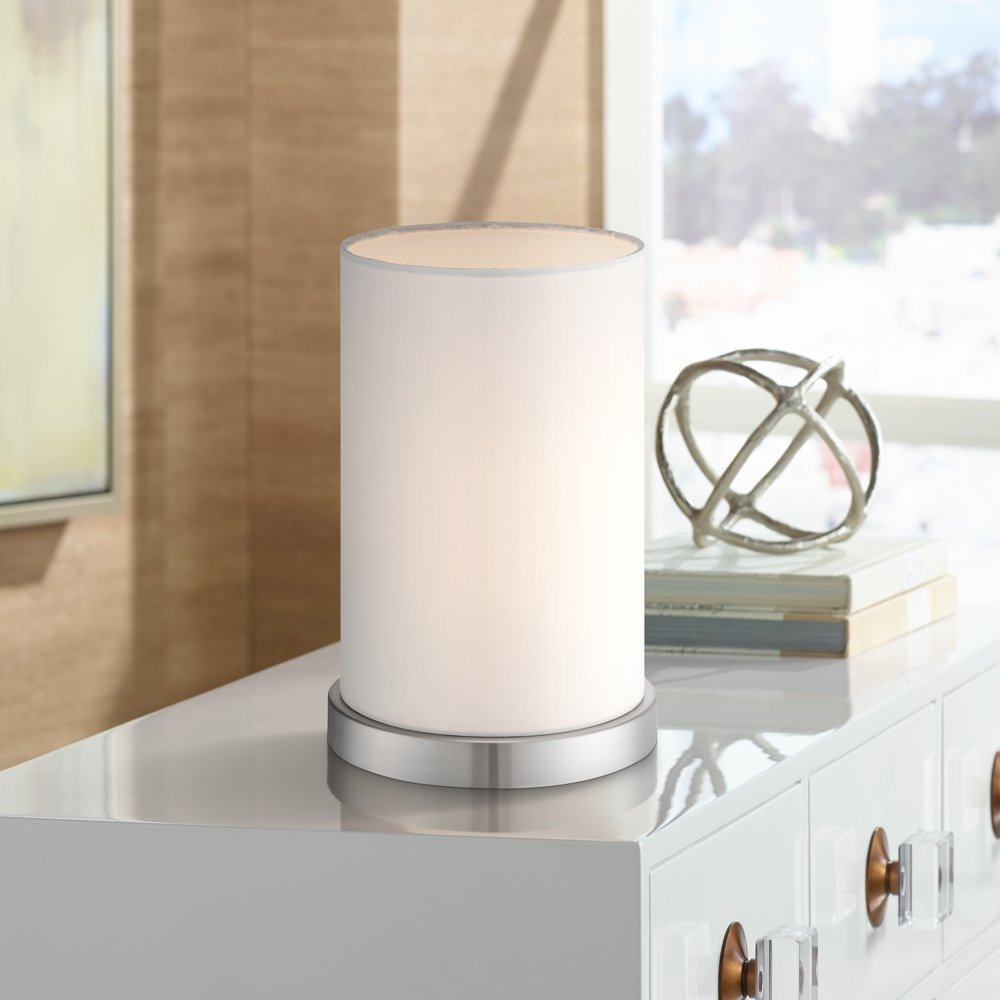 White Cylinder 10 1/2 High Accent Lamp By 360 Lighting   Table Lamps    Amazon.com
