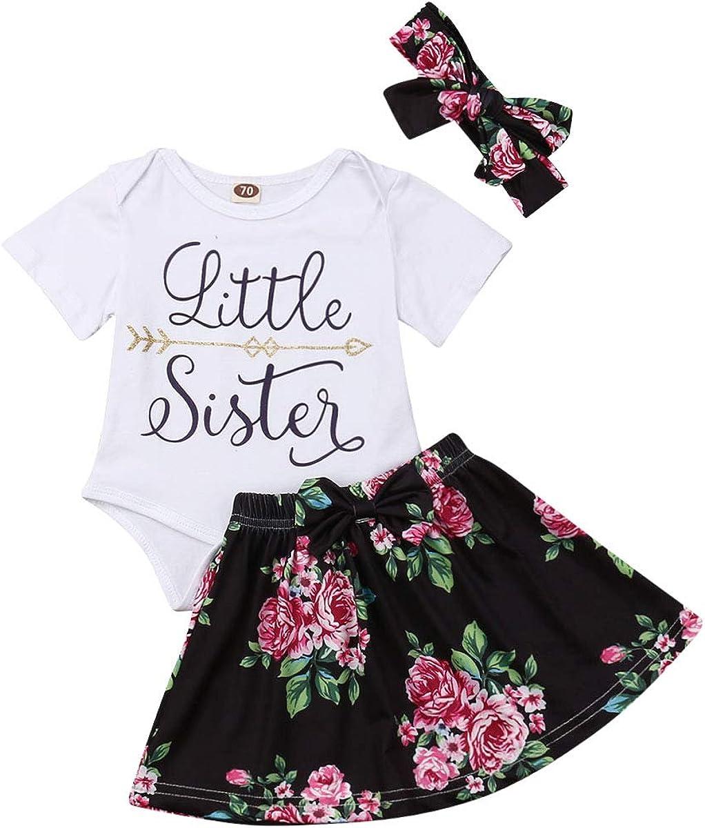 Baby Girls Big Sister T Shirt Tops+Floral Tutu Skirt+Headband 3Pcs Set