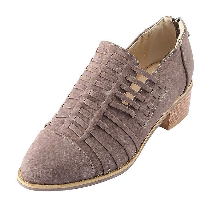 Toamen Zapatos De CuñA De Punta Estrecha para Mujer Botines De Color Puro TacóN Cuadrado con Cremallera: Amazon.es: Ropa y accesorios
