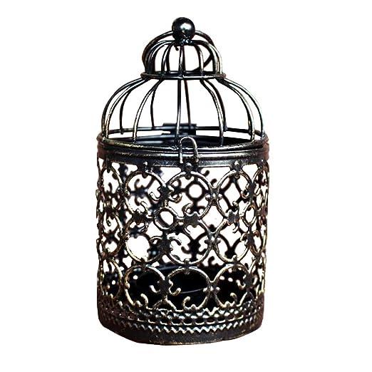 Outflower Portavelas con forma de jaula de pájaros, estilo vintage ...