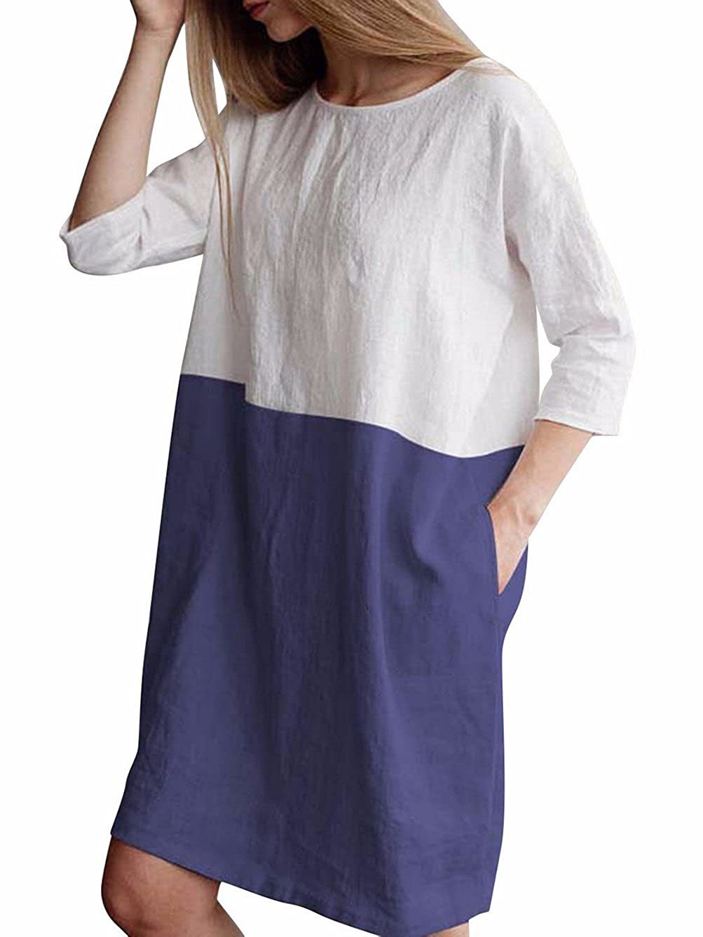 Famulily Women's Oversized 3 4 Sleeve Two Tone Colors Loose T Shirt Dress with Pockets 242143F2