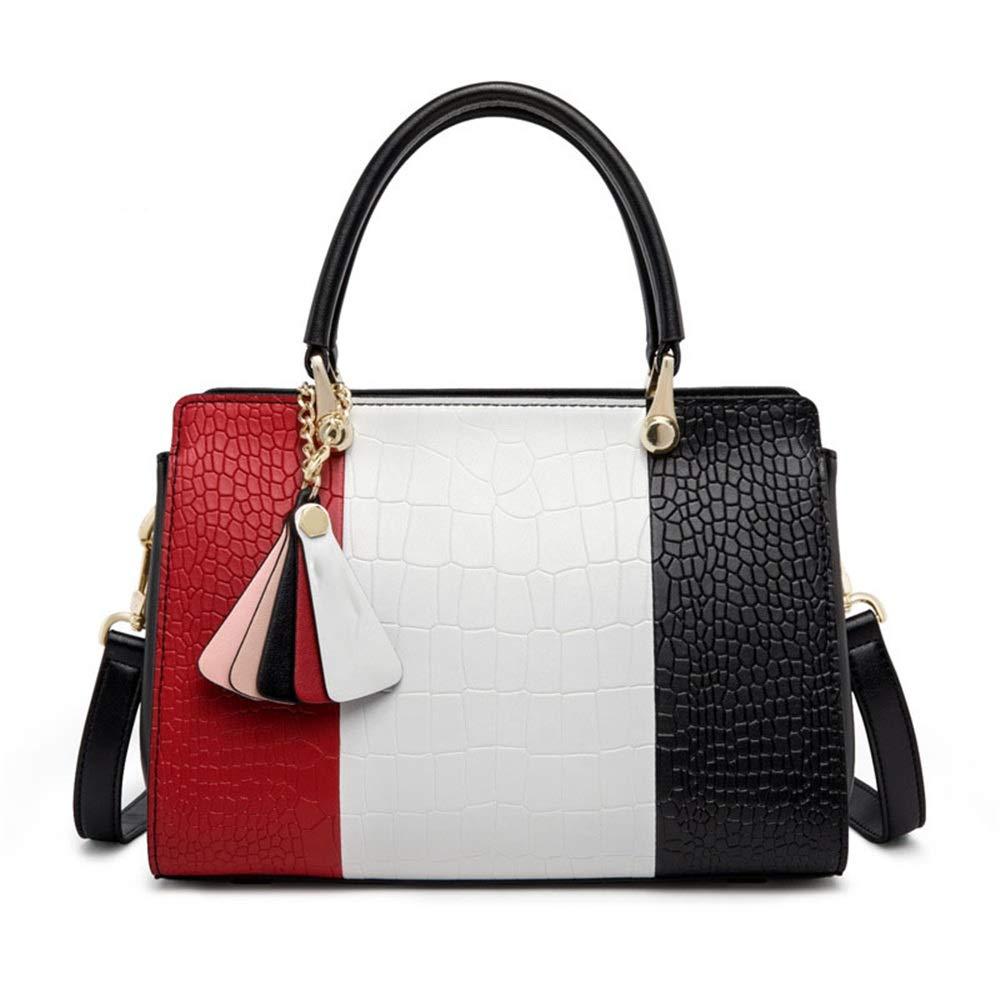 エレガント 女性のトートバッグ通勤ハンドバッグコントラストバッグシンプルなストラップショルダーメッセンジャーバッグ (色 : 赤)  赤 B07R3TKGB8