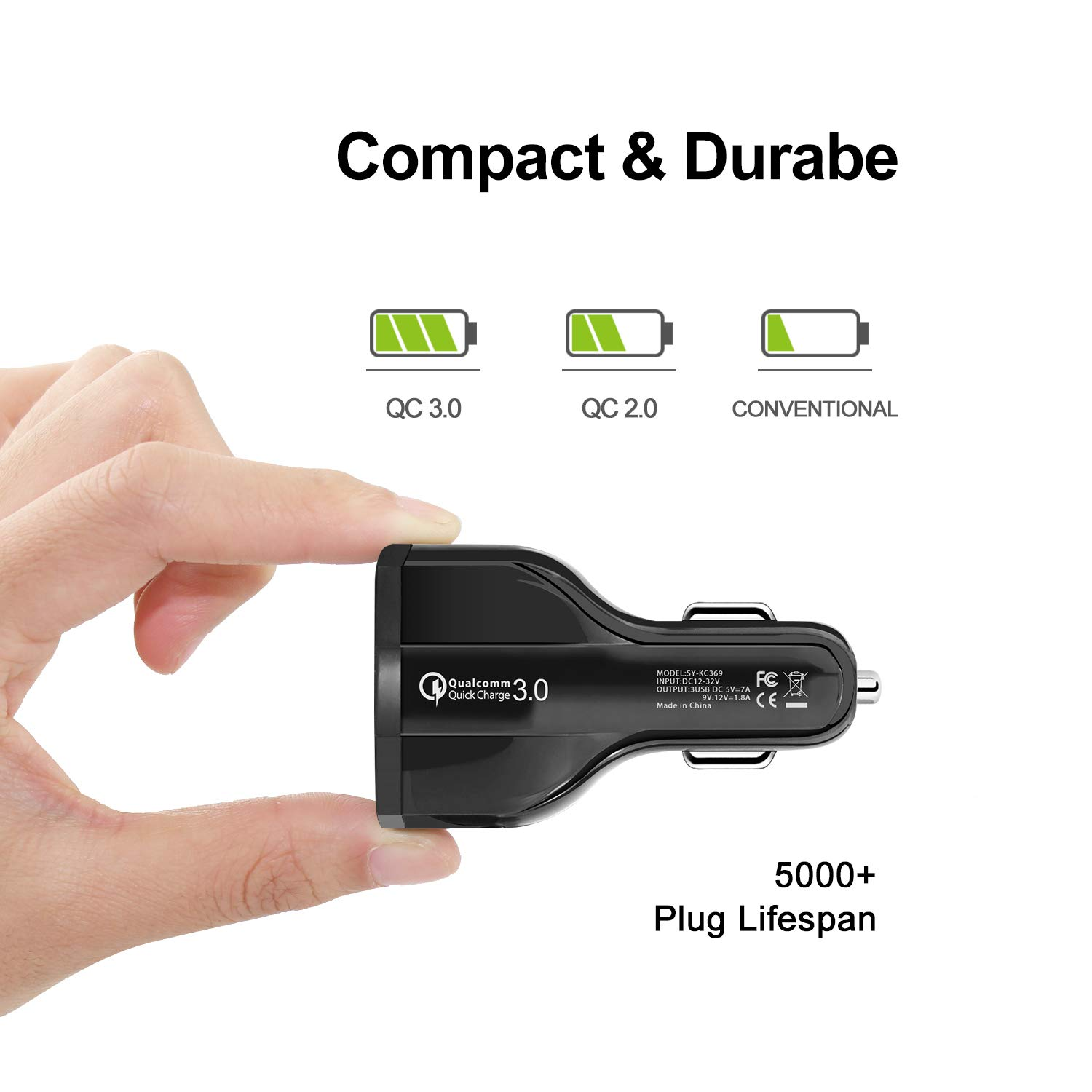 7 Amp//32 W Black+White 2 pcs Baoby 3-Port USB Car Charger for Apple /& Android Devices