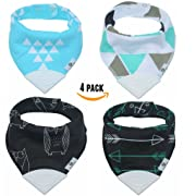 Pickle & Olive Baby/Toddler Bandana Teething Bibs With Attached BPA-Free Silicone Teether, Set Of 4, Water-Resistant, Adjustable Snaps, Best Unique Baby Shower Gift For New Moms, Black/Blue