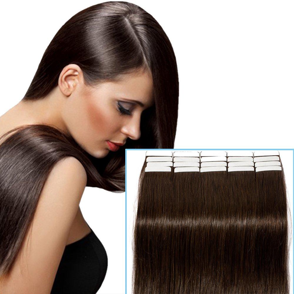 Extension Capelli Veri Biadesivo Biondi Adesive 20 Fasce 40g/set Remy Human Hair Tape on Estensioni per Capelli Lisci Umani Riutilizzabile, 27 Biondo Scuro Rich Choices