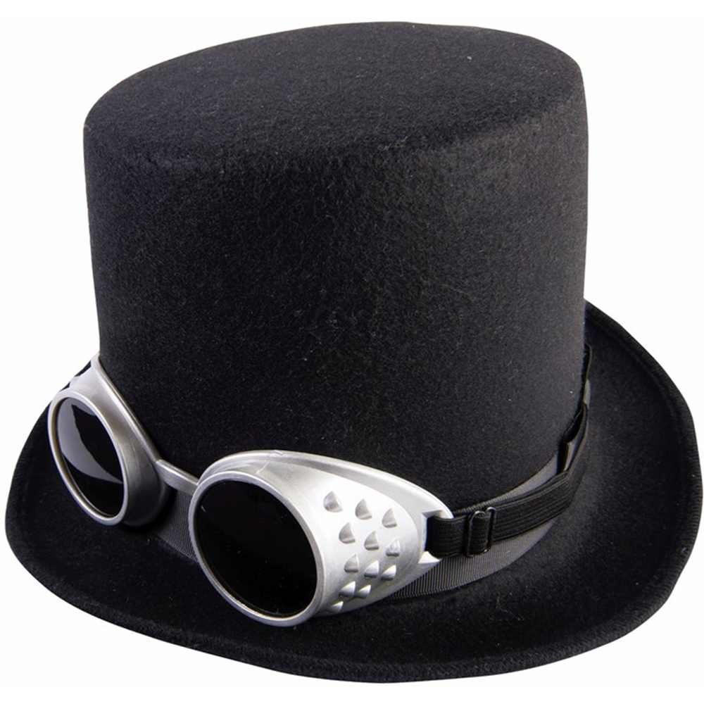 Steampunk Hats for Men | Top Hat, Bowler, Masks Steampunk Deluxe Top Hat With Goggles $11.63 AT vintagedancer.com