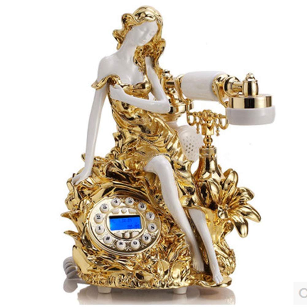 Fixed Telephone Seat Retro Wired Landline Home Antique Creative Fashion Old Telephone,Gold by Telephone