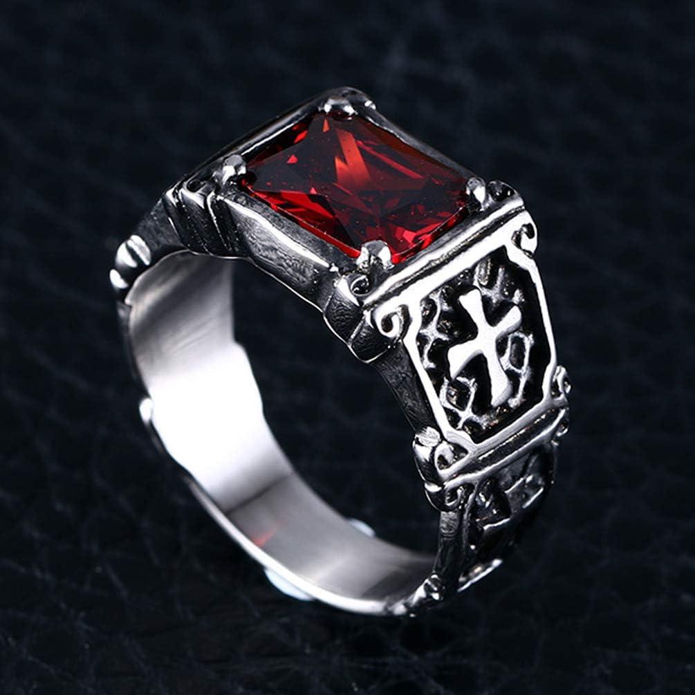 LANSEYAOJI Anneau Hommes Acier Titane Croix Bagues Zircone Cubique Rouge//Noire Bijoux Fantaisie Mariage//Fian/çailles//Bague dAmiti/é//Lifestyle,Taille 54 /à 67