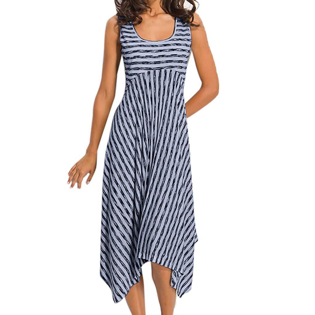Women Long Dress Casual High Waist Stripe Patchwork Irregular Hem Sveless Party Club Beach Dress Sundresses