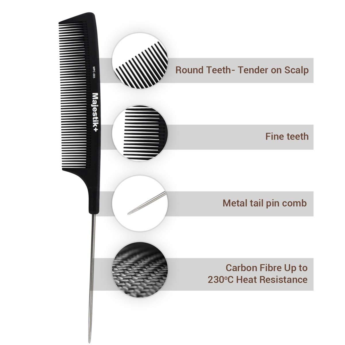 Majestik + Peigne à cheveux, un peigne professionnel en acier de carbone Solidité et de durabilité, Medium et dents fines, Noir avec sac en PVC gratuit JLS Personal Care Ltd MPC