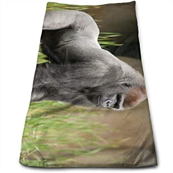 ewtretr Toallas De Mano, Gorilla in The Green Grass Art Print Multi-Purpose Microfiber