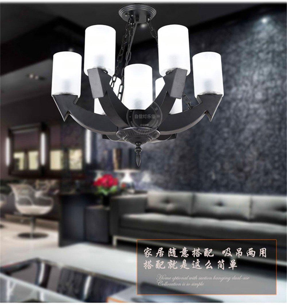 DengWu Lampadari lampade a sospensione plafoniere American industria creativa vento coffee shop net caffè ristorante Vino personalità retrò di ferro decorazione luci pendenti, 40CM