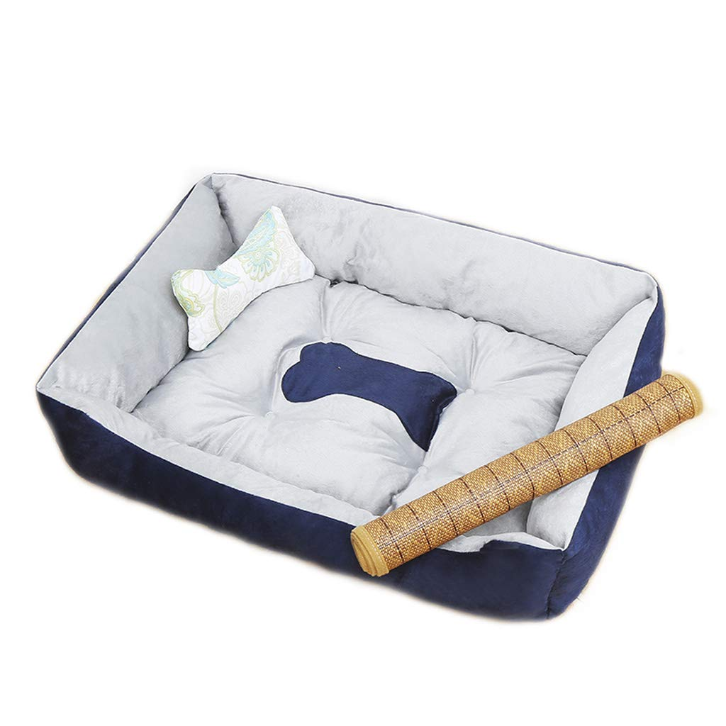 Nest mat bone blanket XSmallDark bluee Rectangular Pet Nest Four Seasons Universal Small and Medium Velvet Dog Cat Litter Bed Villa Warm MUMUJIN (color   Single nest, Size   M)