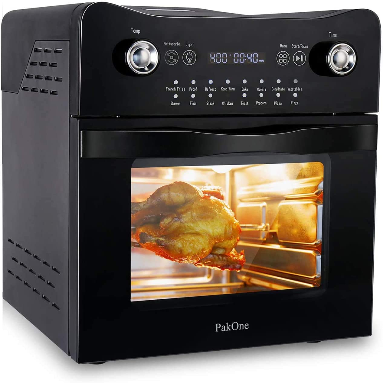 PakOne Digital Air Fryer, 1800W Convection Oven with Rotisserie and Dehydrator, 16-in-1 Air Fryer Toaster Oven Countertop Oven, LED Touch Digital Screen Oilless Cooker with Full Set Dishwasher Safe
