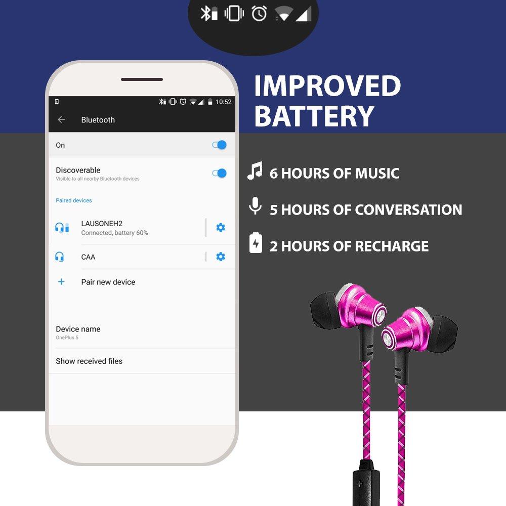 Lauson Auriculares Deportivos Bluetooth Inalámbricos Universales, Cascos Magnéticos, Manos Libres Estéreo con Micrófono, Cancelación de ruido y cable de ...