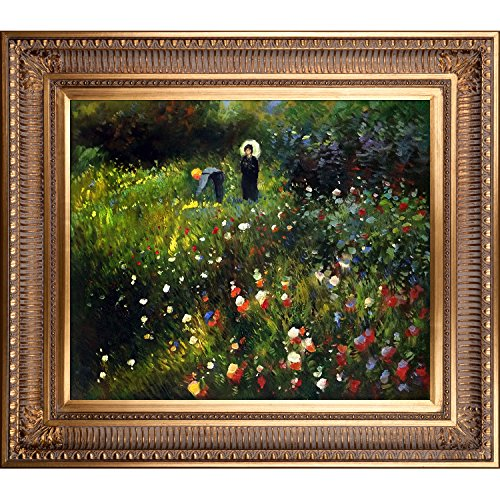 overstockArt Woman Oil Painting with a Parasol in a Garden Frau mi Sonnenschirm with Regal Gold Frame by -