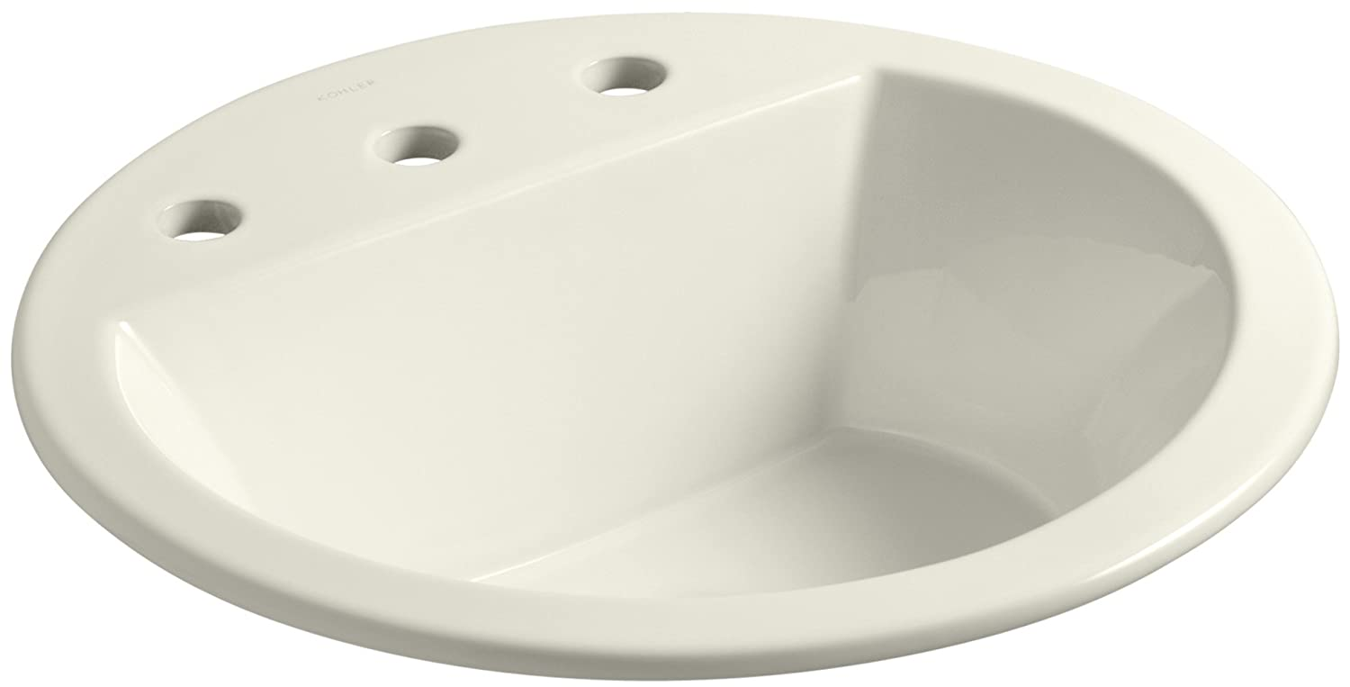 Kohler K-2714-8-96 Vitreous china Drop-In Round Bathroom Sink, 21 x 21 x 10 inches, Biscuit