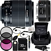 MUST HAVE Dual Lens Kit for Canon Rebel T1i, T2, T3i, T4i, T5i, T6i, T6s, SL1, 60D, 70D, 7D, 7D Mark II 760D 750D Digital SLR Cameras. Includes Canon EF-S 18-55mm f/3.5-5.6 IS STM Lens + Canon EF 50mm f/1.8 STM Lens + 32GB Memory Card + MORE - International Version (No Warranty)