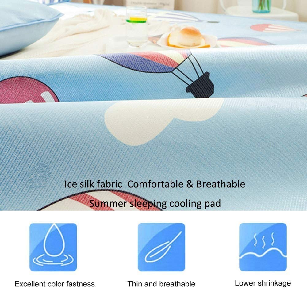 Bulary Ice Silk Mat Kit 3D-gedruckte Matte K/ühlmatte Cool Matratze Ice Mat Sommer Faltbare K/ühlmatratze Pad Sommer Schlafmatte Kissenbez/üge Set