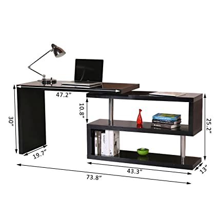 Foldable Convertible Rotating Office Desk Shelf Combo Writing Table Black  With Ebook