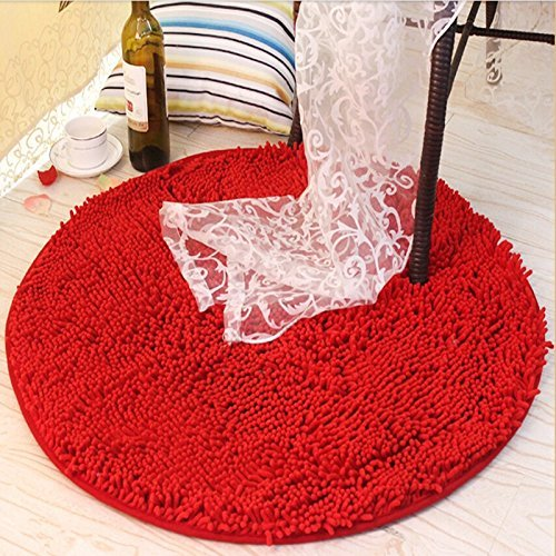 USTIDE Round Red Girls Rug Soft Thicken Living Room/Bathroom Mat, 23.7x23.7 inches