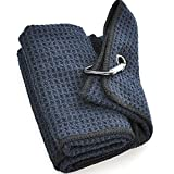 Terry Cloth Microfiber Golf Towel or Brush Combo (Waffle Pattern Microfiber Black/Navy)