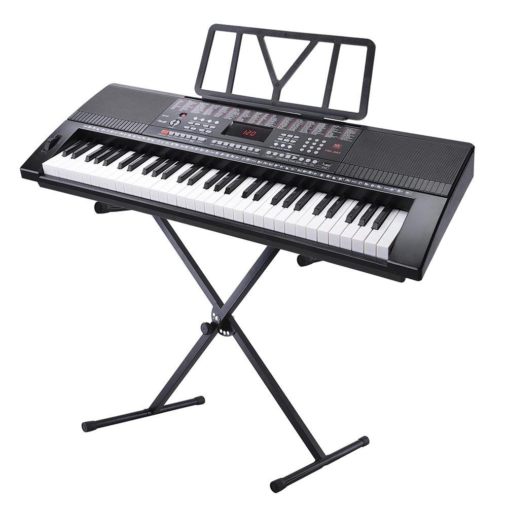 AW 61 Key Full Size Electronic Music Keyboard Kit with Stand Electric Piano LCD Display USB Input MP3