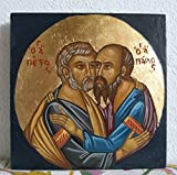 Sts Paul and Saint Peter - Byzantine icon hand painted holy iconography of Greece