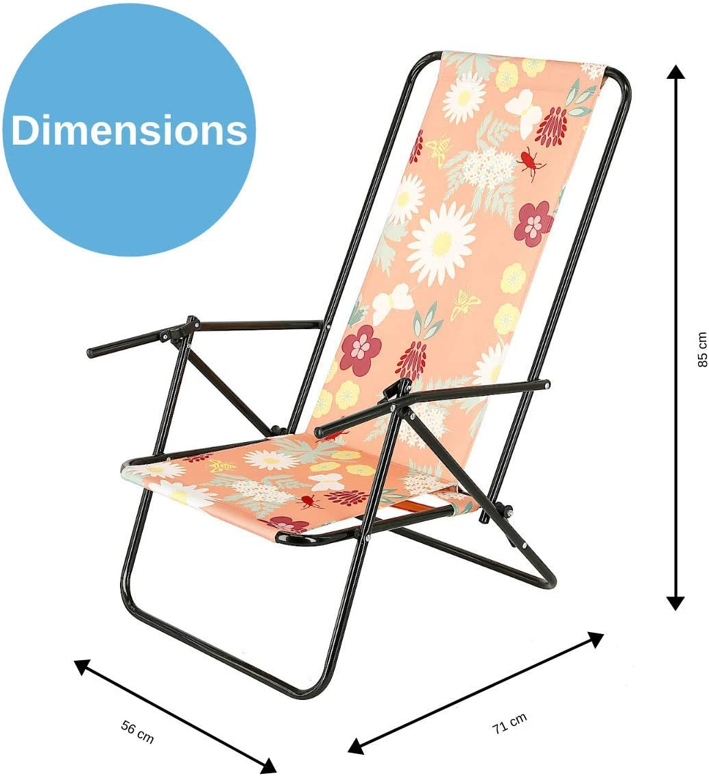 Beach Chair With Steel Frame Pink W Flowers Clas Ohlson Deck Chair Foldable Reclinable Garden Deck Chair