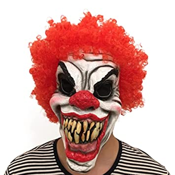 neuartiges Design begehrteste Mode retro Halloween Gruselige Killer Clown Maske Rote Perücke Horror ...