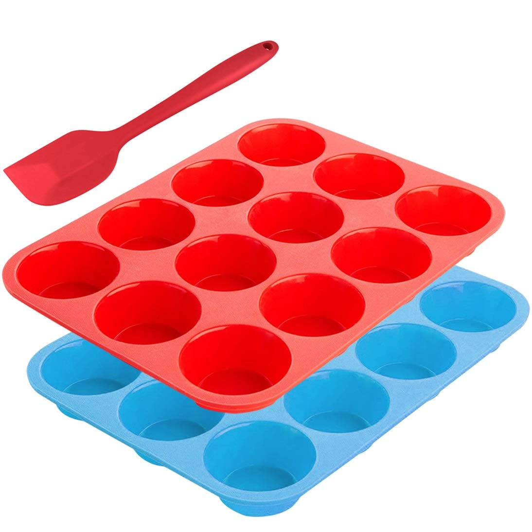 12-Cup Silicone Muffin Mold Bonus with Spatula, SourceTon 3 pcs pack of Muffin Mold and Spatula Set, Non-Stick Baking Pan, Flexible, Cupcake Pans, Dishwasher, Oven, Microwave Oven Safe. Blue + Red EXPSFN011641