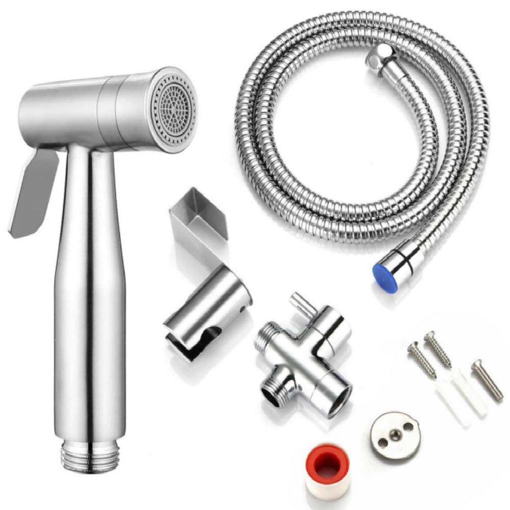 Toilet Handheld Bidet Spray 1 PCS Stainless Steel Brass Sprayer Kit for Shower/Pet Bath,Silver by Beufee