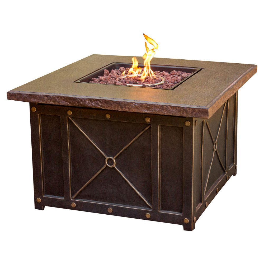 Hanover TRADDURA4PCFP Traditions 4 Piece Conversation Set with 40 Durastone Fire Pit Outdoor Furniture, Natural Oat